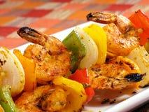 Friggere gambero Kebabs immagini stock