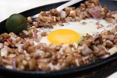 Friggere il piatto tagliato del porco Fotografie Stock