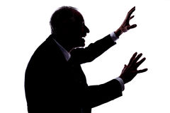Fright concept. Silhouette of a man expressing the fright royalty free stock photos