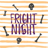 Fright night - Halloween party hand drawn lettering phrase card. Fun brush ink typography greeting card, illustration Royalty Free Stock Images