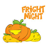 Fright night. Halloween party hand drawn lettering and sketch with cute pumpkins. Fun colorful brush ink typography Stock Images