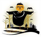 Frighten in halloween. With pumpkin Royalty Free Stock Images