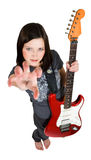 Frighten woman with red guitar. Frighten woman holding red guitar royalty free stock photography