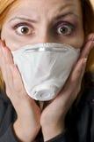 Frighten woman wearing mask Royalty Free Stock Image