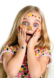 Frightened. Beautiful girl painted colors scared Royalty Free Stock Photos