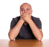 Frightened adult man Stock Images