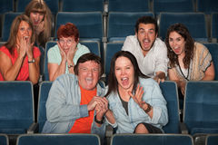 Frightened Audience. Group of frightened people screaming out in fear Stock Photography
