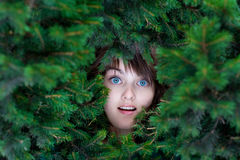 Frightened beautiful girls face Royalty Free Stock Image