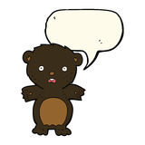 Frightened black bear cartoon with speech bubble Royalty Free Stock Photos