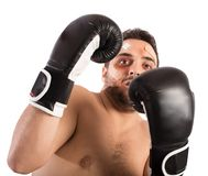 Frightened  boxer. Frightened man boxer with plasters and bruises Stock Photography
