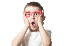 Frightened boy. The boy with an expression of shock Stock Images