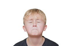 Frightened boy ,isolated on white background. Isolated on white Royalty Free Stock Images