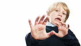 Frightened boy screaming Stock Images