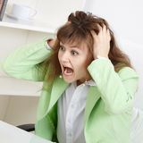 Frightened business woman loudly shouts Stock Photos