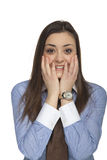 Frightened business woman Royalty Free Stock Image