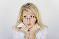 Frightened businesswoman Stock Images