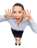 Frightened businesswoman screaming Royalty Free Stock Photo