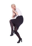 Frightened businesswoman or teacher. In white elegant blouse Royalty Free Stock Photography