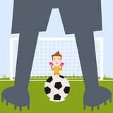 Frightened cartoon goalkeeper waiting for soccer player shown as silhouette to take penalty kick Stock Photography