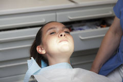 Frightened cute girl at dentist. Frightened girl at dentist-I will not open my mouth Royalty Free Stock Photo