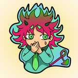 Frightened demon. Sticker , frightened little demon closed his hands over her mouth Royalty Free Stock Photography