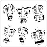 Frightened expression - vector set. Royalty Free Stock Photography