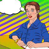 Frightened girl in a blue blouse in a pop art style stock illustration