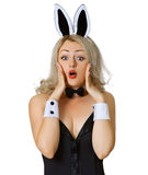 Frightened girl in bunny costume on white Stock Photography