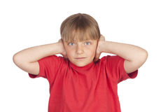 Frightened girl covering her ears Royalty Free Stock Photography