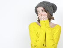Frightened girl looking to the side. Stock Photo