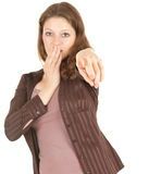 Frightened girl pointing you Stock Images