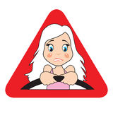 Frightened girl. Warning icon - frightened girl. Blonde behind the wheel Royalty Free Stock Photos