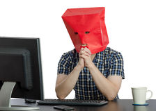 Frightened guy talks with psychologist online Stock Images