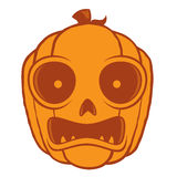 Frightened Halloween Jack O Lantern. Vector cartoon illustration of a frightened Jack-O-Lantern pumpkin head. Great for Halloween decorations or designs stock illustration