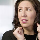 Frightened Hispanic Woman. Close Up of a Frightened Hispanic Woman Royalty Free Stock Image