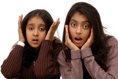Frightened indian girls Royalty Free Stock Image