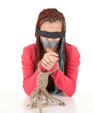 Frightened kidnapped young woman, hostage Royalty Free Stock Photo