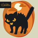 Frightened Kitty with Moon and Clouds on orange Background, Vector Illustration Royalty Free Stock Images