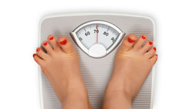 Frightened legs on bathroom scale Royalty Free Stock Photos