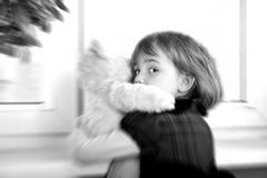 Frightened little girl Stock Images