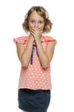Frightened little girl standing with hands over mouth Royalty Free Stock Photos