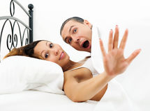 Frightened man caught during  adultery with girlfriend Royalty Free Stock Images