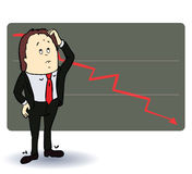 Frightened man in a chart going down. Cartoon Royalty Free Stock Photo