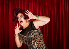 Frightened Man in Drag Royalty Free Stock Photos