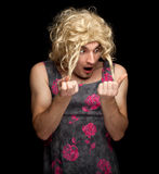 Frightened man dressed as woman Royalty Free Stock Photos