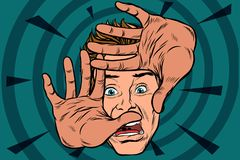 Frightened man is protected by hands. Pop art retro vector illustration Royalty Free Stock Photo