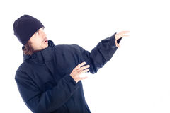 Frightened man in winter jacket Stock Photos