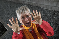 Frightened middle aged woman Royalty Free Stock Photos