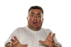 Frightened obese man. On a white background royalty free stock photos