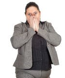 Frightened overweight, fat businesswoman Stock Images